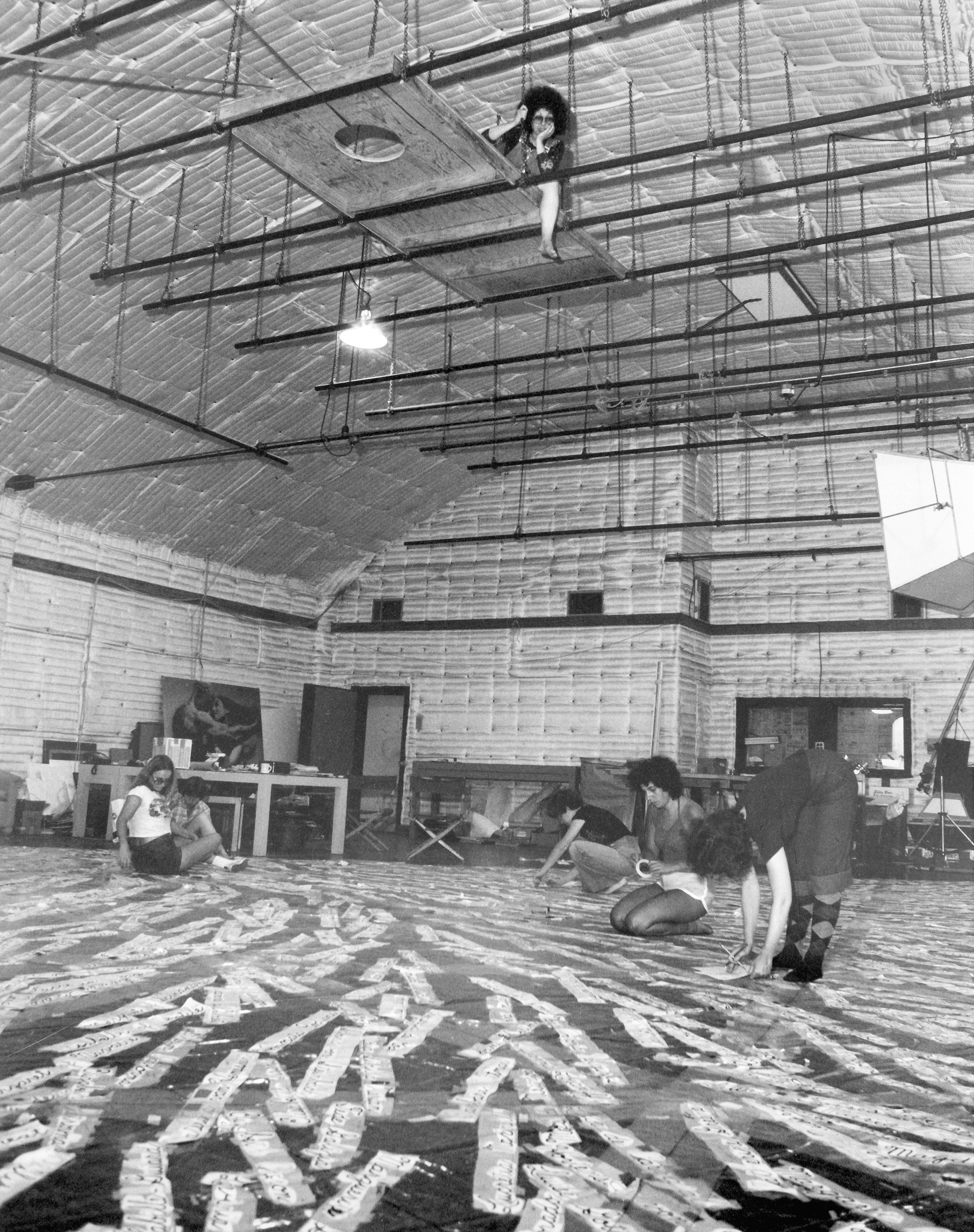 Laying out the names for the Heritage Floor, 1978
