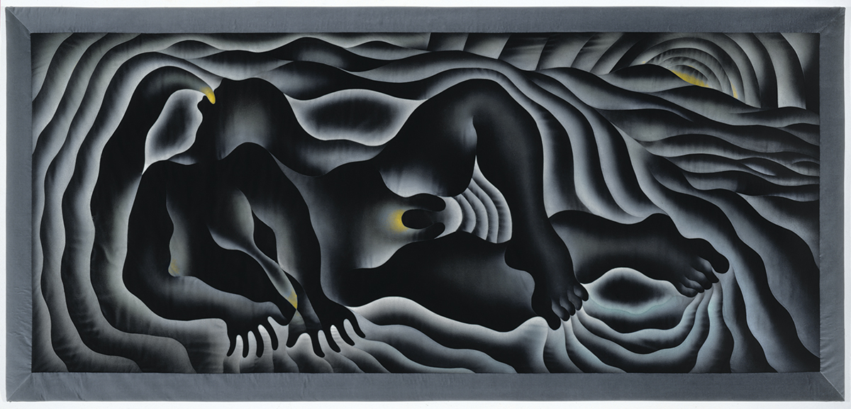 Earth Birth, 1983. Sprayed Versatex and DMC floss on fabric, 5′ 2 3/4″ x 11′ 4 3/4″ Quilting by Jacquelyn Moore Alexander