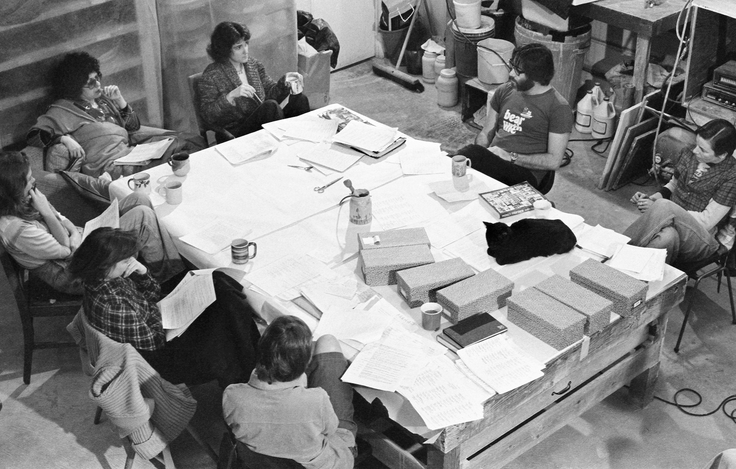Research meeting in The Dinner Party studio, Santa Monica, CA, 1978. Courtesy the Judy Chicago Visual Archive, Betty Boyd Dettre Library and Research Center, The National Museum of Women in the Arts