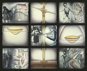 Im/Balance of Power, 1991. Sprayed acrylic, oil and photography on photolinen, 6′- 5.25″ x 7′- 11.25″ installed. Nine panels: 24″ x 30″ each