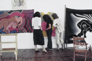 Judy Chicago conducts Birth Project review in Benicia, CA 1982