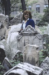 Judy Chicago in old Jewish cemetery in Prague. It is said that nearly 100,000 people are buried there in graves dating back to the Middle Ages.