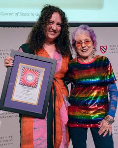 Judy Chicago with Chelsea Borgman who is the 2019 recipient of the Judy Chicago Art Education.