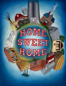 Home Sweet Home, 2000. Sprayed acrylic and embroidery, 24″ x 18″, needlework by Pamella Nesbit, Collection of Roger Bryan and Jeanne O'Steen