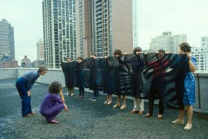 Judy Chicago conducts Birth Project review of Birth, NY, c. 1982
