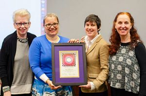 Barbara I Dewey, dean of University Libraries and Scholarly Communications presented the Judy Chicago Art Education Award to Melissa Leaym Fernandez