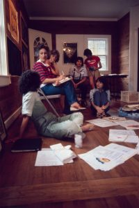 Birth Project review with Judy Chicago, Rhonda Gerson Pat Hull, Karen Wahl, Kathy SKinner, Sarah Carter in Houston, TX,1981