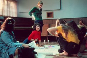 Judy Chicago conducts Birth Project review, CA, 1980