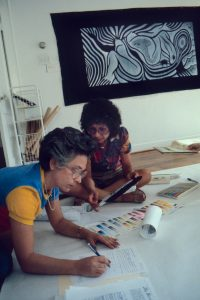 Judy Chicago conducts Birth Project review with Rhonda Gerson, 1981