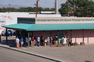 Visitors waiting in line for a tour of Through the Flower Art Space, Belen, NM 2019