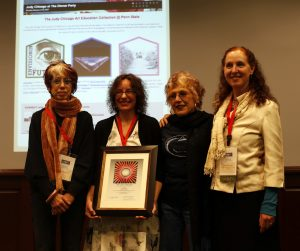 Brenna Johnson honored with The Judy Chicago Art Education Award in 2014.