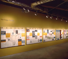The Dinner Party Heritage Panels, installation view at UCLA