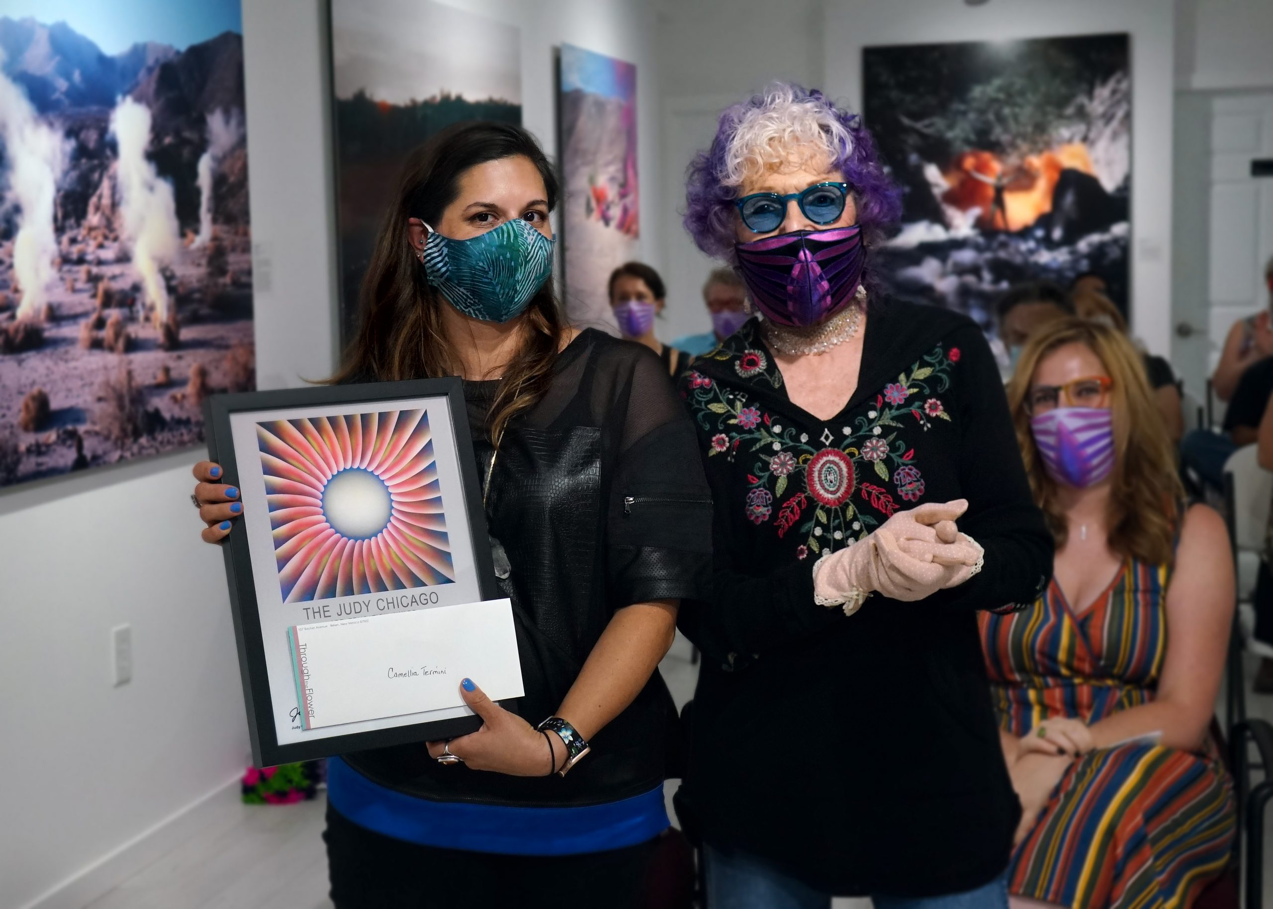 Judy Chicago with one of the two 2020 award winners, Camellia Termini.