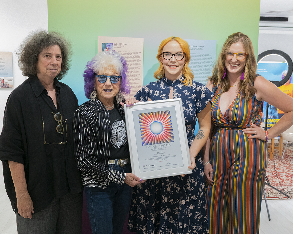 Courtney Ulrdich, winner of the 2021 Judy Chicago Art Education Award, with Judy Chicago, Diane Gelon, and Megan Malcolm Morgan.